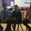 Manchester United's Chris Smalling surprises The Hyndburn Academy Students
