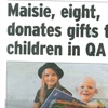 Maisie, eight, donates gifts to children in QA (via The News, Portsmouth)